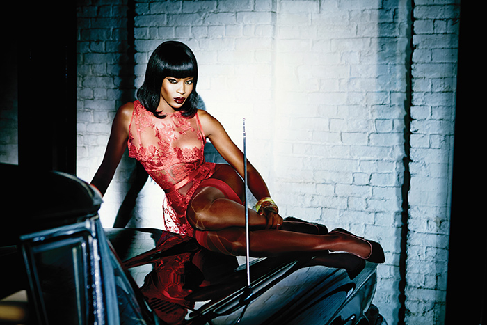 Naomi Campbell in onney in Agent Provocateur